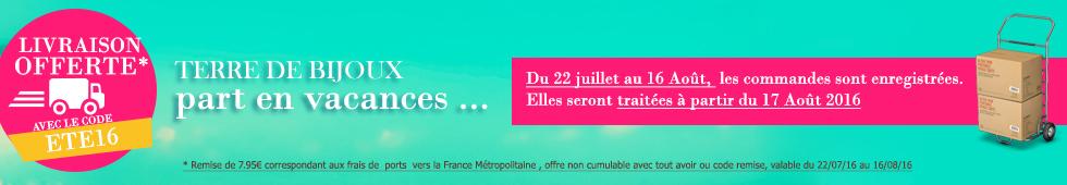 Terre de Bijoux vous offre vos frais de ports dès 100€ d'achats