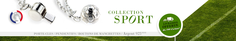 Bijoux sport : pendentif foot, rugby, golf, portecles surf, golf, rando....