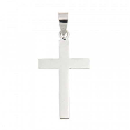 Pendentif Or blanc 375 °°° CROIX PLATE 12x23mm