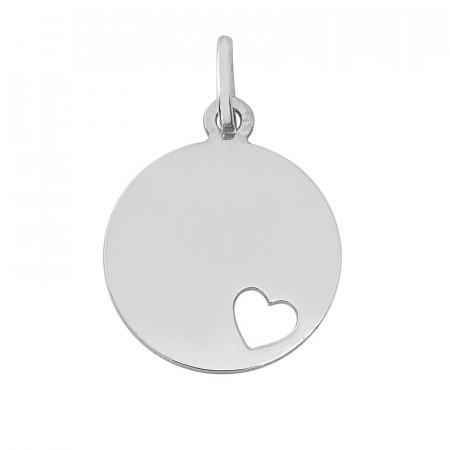 Médaille ronde COEUR ajouré Or blanc 375°°°