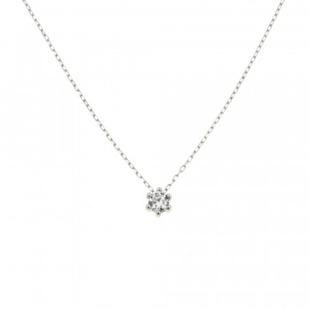 Collier Or blanc 375°°° Oxyde griffe L: 40cm