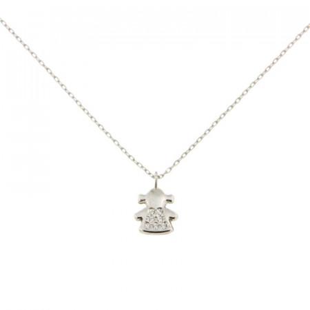 Collier petite fille Or blanc 375 - pendentif + chaine