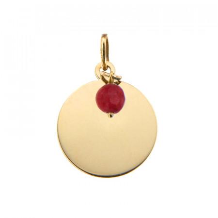 Médaille Or 375 Pierre de Naissance JUILLET - Jade rouge