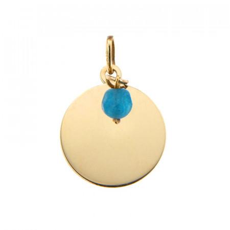 Médaille Or 375 Pierre de Naissance DECEMBRE - Jade turquoise