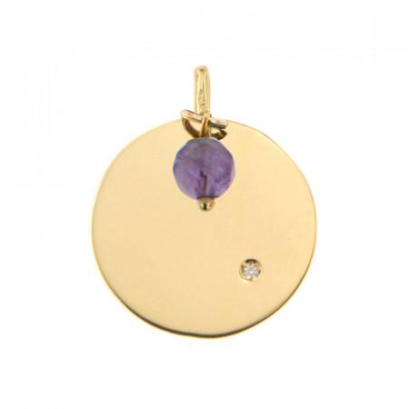 Médaille Or 375 Pierre de Naissance Diamant FEVRIER - Améthyste