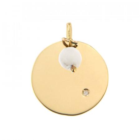 Médaille Or 375 Pierre de Naissance Diamant AVRIL - Jade blanc