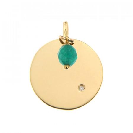Médaille Or 375 Pierre de Naissance Diamant MAI - Quartz vert