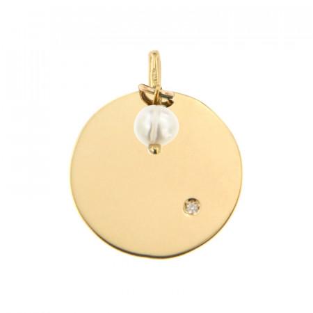 Médaille Or 375 Pierre de Naissance Diamant JUIN - Perle de culture Biwa