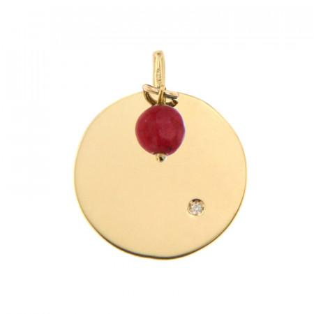 Médaille Or 375 Pierre de Naissance Diamant JUILLET - Jade rouge