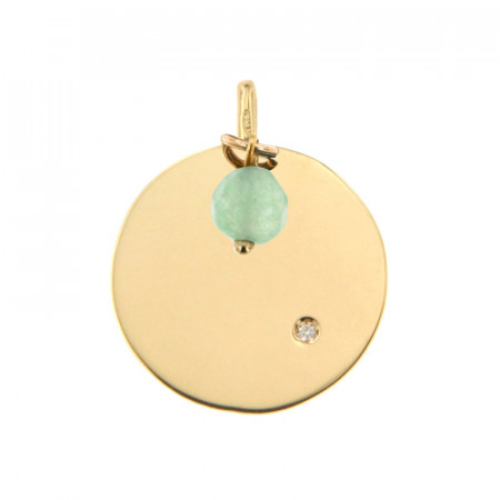 Médaille Or 375 Pierre de Naissance Diamant AOUT - Jade vert d'eau