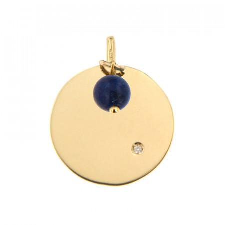 Médaille Or 375 Pierre de Naissance Diamant SEPTEMBRE - Lapiz