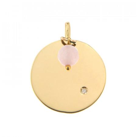 Médaille Or 375 Pierre de Naissance Diamant OCTOBRE - Jade rose