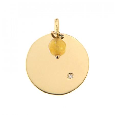 Médaille Or 375 Pierre de Naissance Diamant NOVEMBRE - Jade jaune