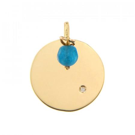 Médaille Or 375 Pierre de Naissance Diamant DECEMBRE - Jade turquoise