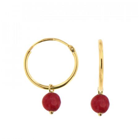 Créoles Or 375 Pierre de Naissance JUILLET - Jade rouge
