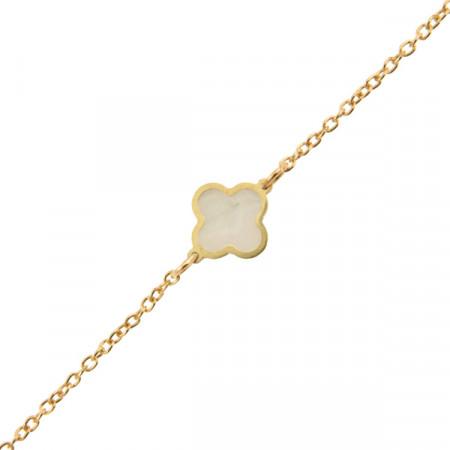 Bracelet Or 375°°° TREFLE NACRE 18cm