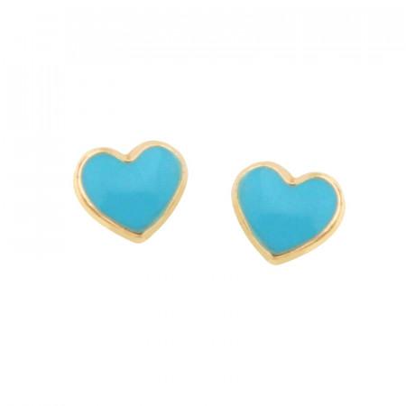Boucles d'oreilles COEUR bleu turquoise Or 375°°° - VIS SECURITE