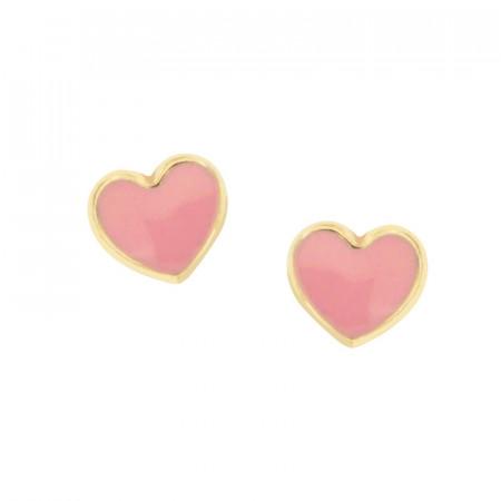 Boucles d'oreilles COEUR rose Or 375°°° - VIS SECURITE