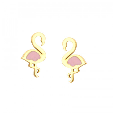Boucles d'oreilles FLAMANT ROSE STYLISE Or 375°°° - VIS SECURITE