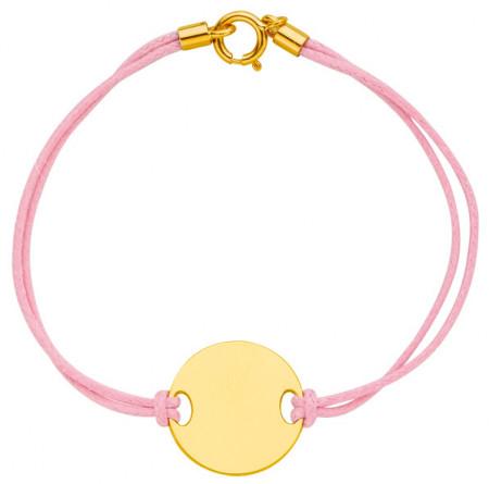 Bracelet cordon JETON Or jaune 375°°° - 14cm