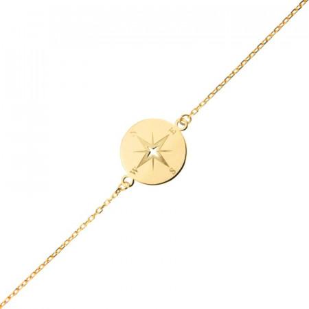 Bracelet Or 375°°° ROSE DES VENTS 16/18cm