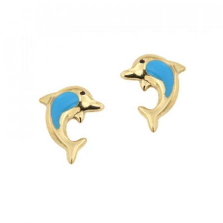 Boucles d'oreilles DAUPHIN Bleu Or 375°°°