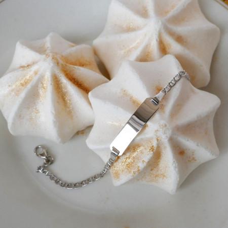 Gourmette bébé garcon en Or blanc, maille marine et plaque a graver