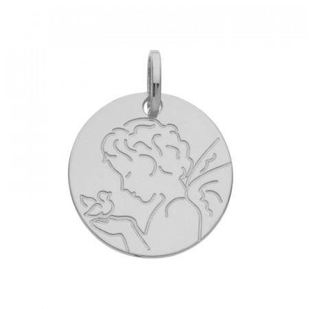 Médaille ANGE STYLISE OISEAU Or blanc 375°°°