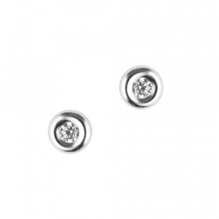 Boucles d'oreilles Or blanc 375°°° OXYDE bouée PM  - VIS