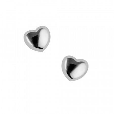 Boucles d'oreilles Or blanc 375°°° COEUR - VIS SECURITE