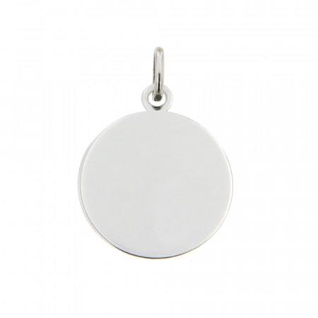 Médaille laïque bébé Or blanc 375°°° UNIE A GRAVER