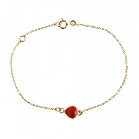 Bracelet coeur rouge Or 375°°°
