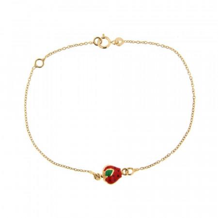 Bracelet Fraise rouge Or 375°°°