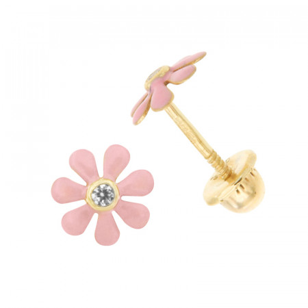 Boucles d'oreilles MARGUERITE Rose Oxyde Or 375°°° - VIS SECURITE