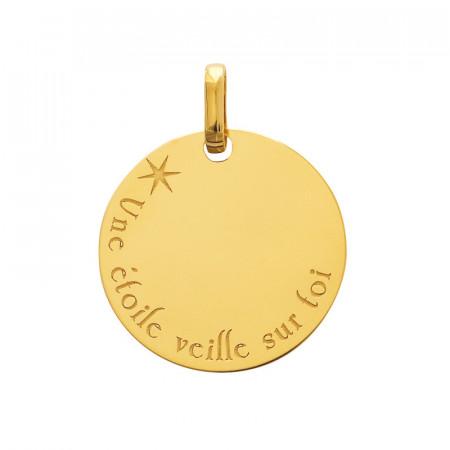 Médaille de bapteme bébé Or 375°°° UNE ETOILE VEILLE SUR TOI