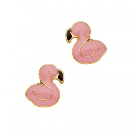 Boucles d'oreilles Flamant rose Or  375°°°