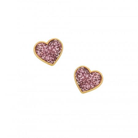Boucles d'oreilles Coeur paillette rose Or  375°°°