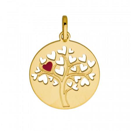 Médaille ARBRE DE VIE Coeur rouge Or 375°°°