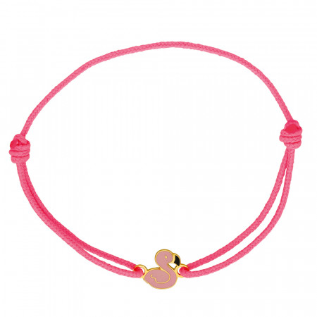 Bracelet cordon FLAMANT ROSE Or 375°°°
