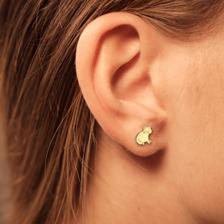 Boucle d oreille CHAT Or jaune 9 carats pour enfant