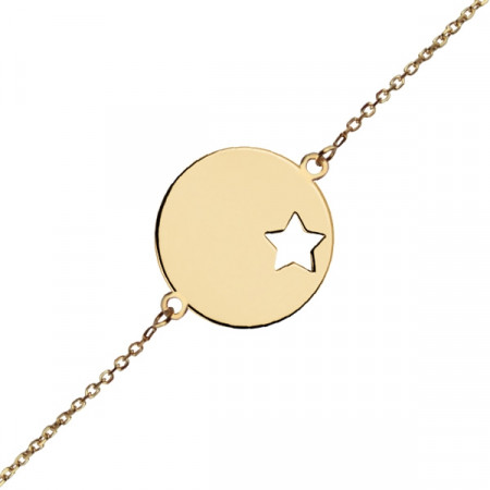 Bracelet identité médaille étoile Or 375°°° - Ado/Adulte