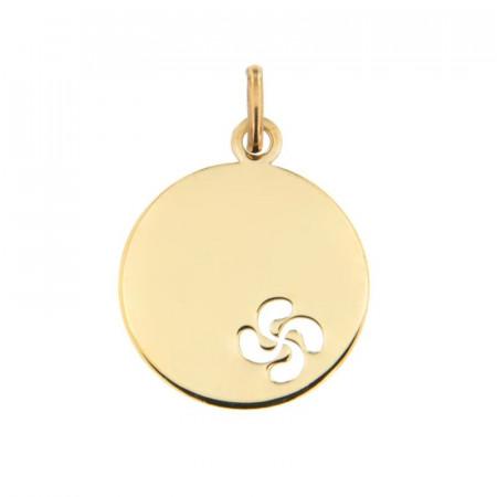 medaille bapteme lauburu or jaune