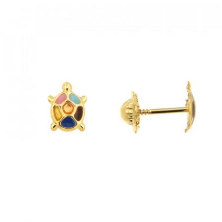 Boucles d'oreilles TORTUE multicolore Or 375°°° - VIS