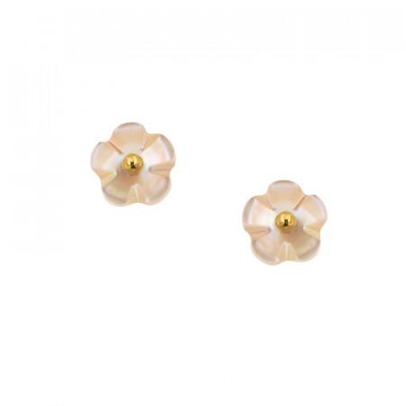 Boucles d'oreilles NACRE forme fleur Or 9K