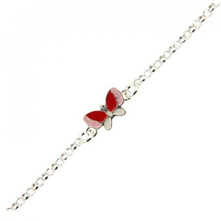 Bracelet Argent ENFANT Rolo 3 papillons - L: 16+2cm - l: 5mm