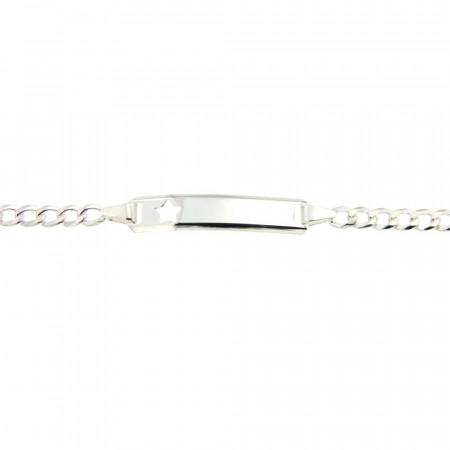 Bracelet Argent ENFANT Gourmette étoile decoupée L: 14 + 2cm