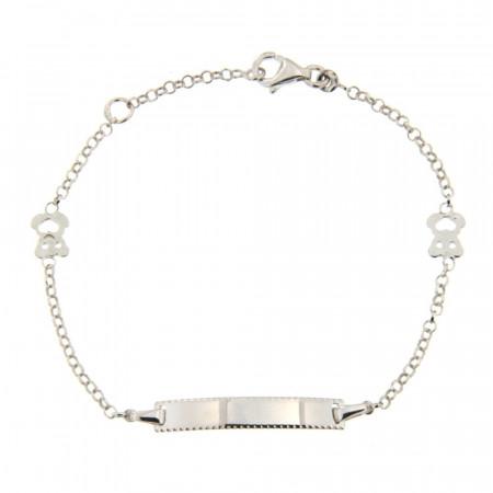 Bracelet Argent IDENTITE ENFANT OURSON COEUR L: 14 + 2cm