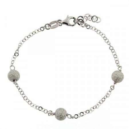 Bracelet Argt 3 BOULES Diamantées/Chaîne L: 19cm