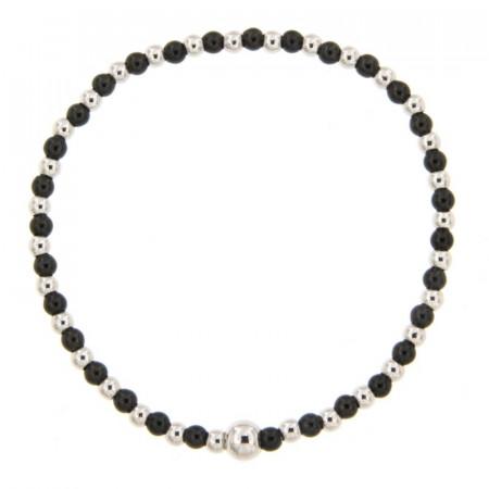 Bracelet BOULE 3 mm - Argent Bicolore noir