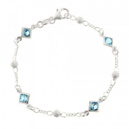 ** Bracelet Argt 4 CarréS BLEU/BOULE DIAM L : 18 cm